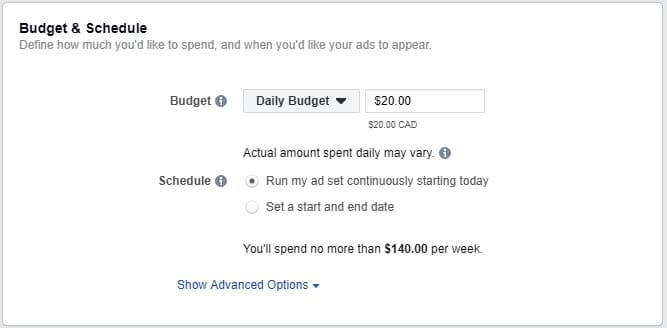 budget and schedule instagram ad