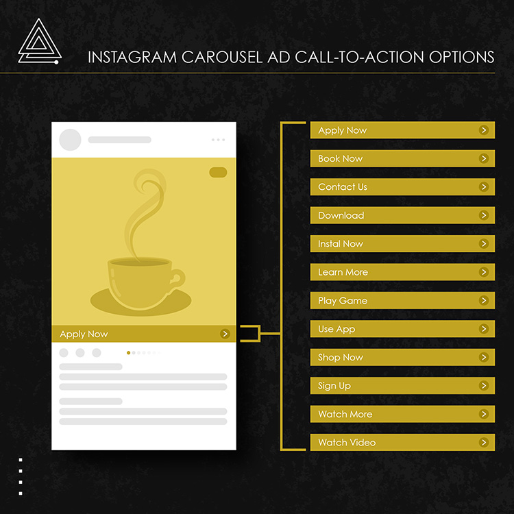 Instagram carousel ad call to action options