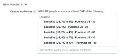 custom 1% to 10% lookalike audiences